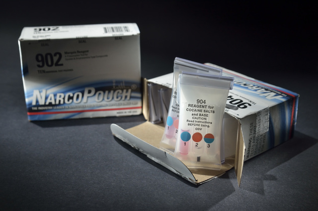 The NarcoPouch drug testing kit used by Las Vegas police is shown Thursday, Oct. 13, 2016. Bill Hughes/Las Vegas Review-Journal