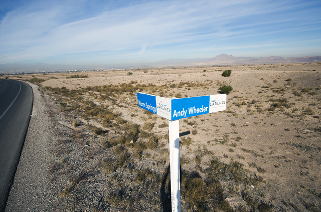 A temporary sign marks future streets at Cadence, a 2,300-acre master planned community, waiting to be developed in Henderson on Tuesday, Dec. 13, 2016. (Jeff Scheid/Las Vegas Review-Journal) Foll ...