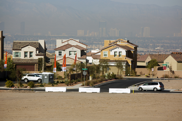 A view of completed single family homes at Cadence, a 2,300-acre master planned community, in Henderson with Las Vegas seen in the background on Tuesday, Dec. 13, 2016. (Jeff Scheid/Las Vegas Revi ...