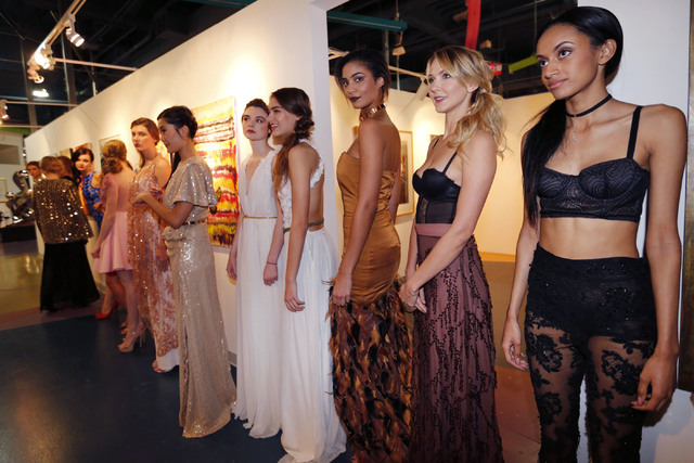 Models line up before a fashion show of local fashion designer Ermelinda Manos at the Metropolitan Gallery Art Museum in Las Vegas, Wednesday, Dec. 7, 2016. (Chitose Suzuki/Las Vegas Review-Journa ...