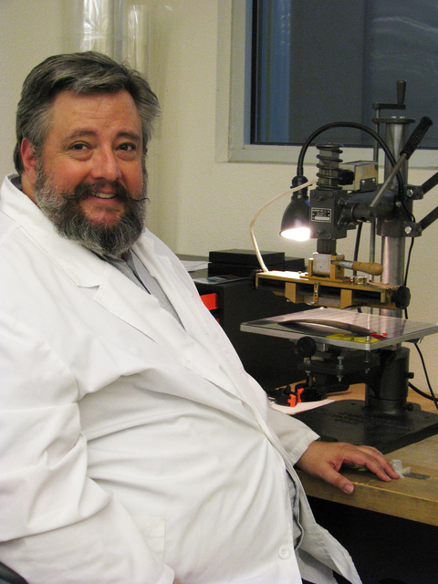Michael Frazier, conservator at UNLV Special Collections is tasked with preservation and conservation of collection in the Lied Library at UNLV,  4505 S. Maryland Parkway. Frazier is also in charg ...