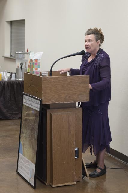 Linda Miller, dressed as Helen J. Stewart, speaks during a League of Women Voters meeting at University United Methodist Church in Las Vegas, Saturday, Nov. 19, 2016. Jason Ogulnik/Las Vegas Revie ...