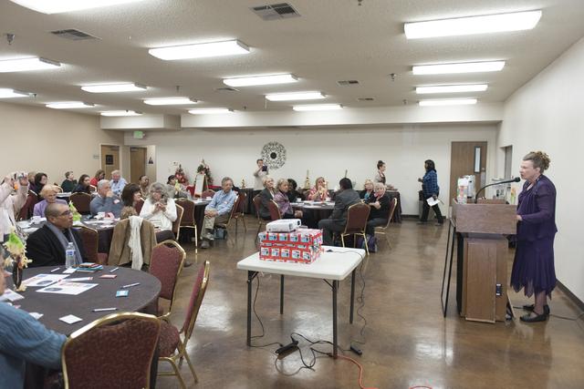 Linda Miller, dressed as Helen J. Stewart, right, speaks during a League of Women Voters meeting at University United Methodist Church in Las Vegas, Saturday, Nov. 19, 2016. Jason Ogulnik/Las Vega ...
