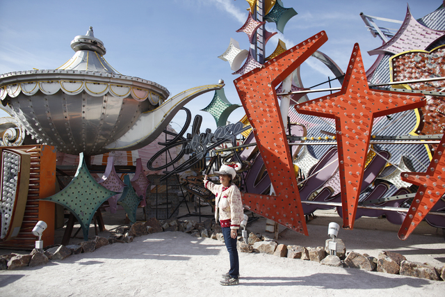 Beverly Saperstein guides a tour at the Neon Museum on Sunday, Dec. 11, 2016, in Las Vegas. (Rachel Aston/Las Vegas Review-Journal) @rookie__rae