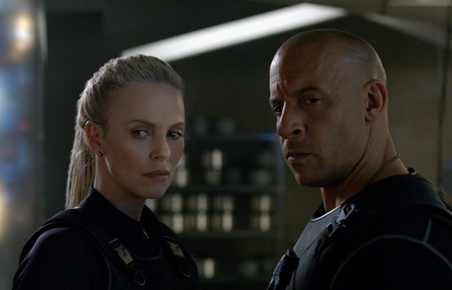 "CHARLIZE THERON and VIN DIESEL in ""The Fate of the Furious."" Photo Credit: Universal Pictures"