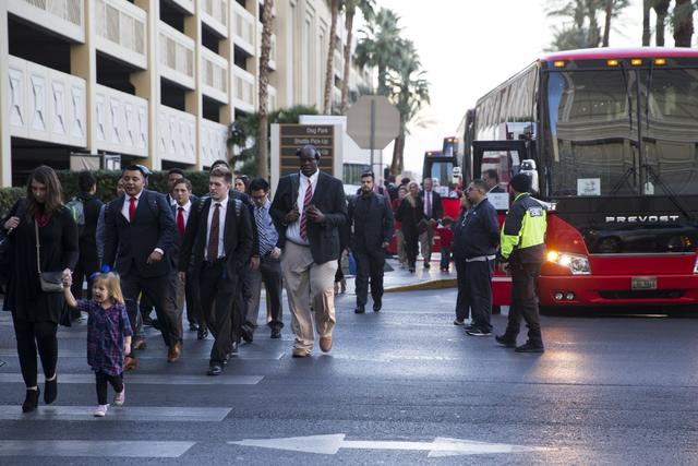 University of Houston football players and staff arrive at the Delano Las Vegas hotel on Tuesday, Dec. 13, 2016, in Las Vegas. (Erik Verduzco/Las Vegas Review-Journal) Follow @Erik_Verduzco