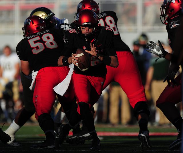 UNLV Rebels quarterback Dalton Sneed (18) looks to hand off against Colorado State in the second half of their NCAA college football game at Sam Boyd Stadium Saturday, Oct. 22, 2016. Colorado Stat ...