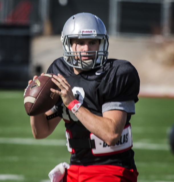 UNLV quarterback Dalton Sneed, right,  during practice at Rebel Park on Monday, March 28, 2016. (Jeff Scheid/Las Vegas Review-Journal) Follow @jlscheid