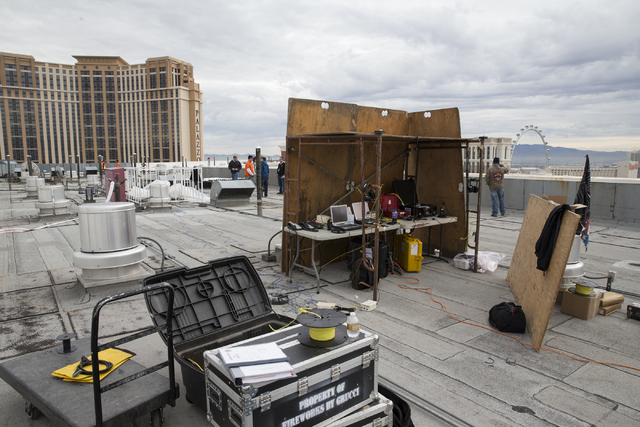 The view from the Treasure Island hotel-casino roof where a New Year's Eve firework show is set to launch 80,000 fireworks in eight minutes, Friday, Dec. 30, 2016, in Las Vegas. Erik Verduz ...