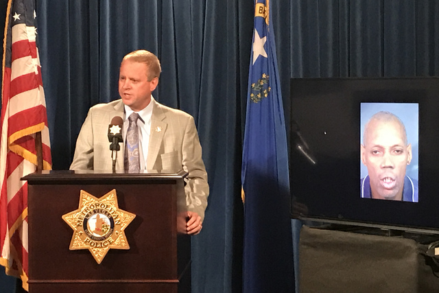Metropolitan Police Department Undersheriff Kevin McMahill addresses the media regarding an officer involved shooting between off-duty Metropolitan Police Department Detective Lance Spiotto, 48, a ...