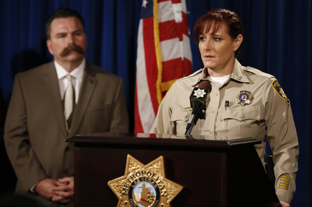 Las Vegas police Capt. Roxanne McDaris speaks about 13-year-old Fabriccio Patti, who was killed during an attempted robbery at a Las Vegas smoke shop, during a press conference at Metropolitan Pol ...