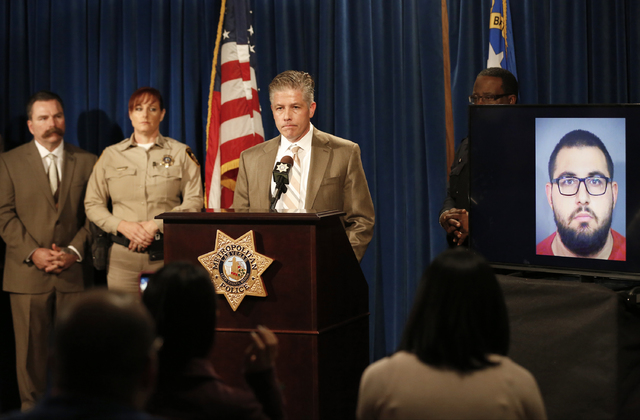 Homicide Lt. Dan McGrath speaks about 13-year-old Fabriccio Patti, who was killed during an attempted robbery at a Las Vegas smoke shop, during a press conference at Metropolitan Police Department ...
