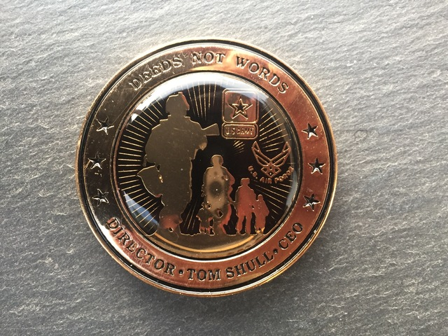 The challenge coin of Tom Shull, director of the Army and Air Force Exchange Service, shown, Wednesday, Oct. 12, 2016, at Nellis Air Force Base Exchange, features the motto of his Army infantry re ...
