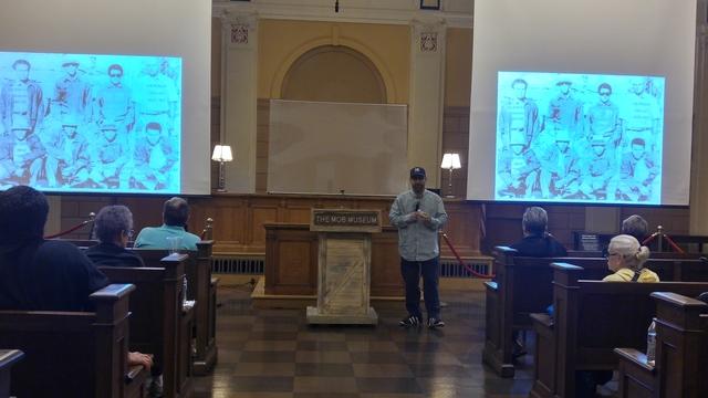 Metropolitan Police Department Detective Alex Cruz gives a presentation on gang awareness Nov. 20 at the Mob Museum. Rocio Hernandez/View