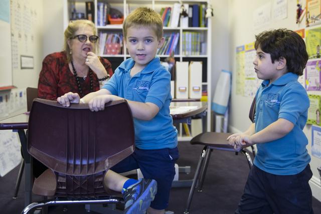 Kindergartners Xander Gallant, left, and Nilan Nasri, in their classroom at Nasri Academy on Wednesday, Nov. 16, 2016, in Henderson. Erik Verduzco/Las Vegas Review-Journal Follow @Erik_Verduzco