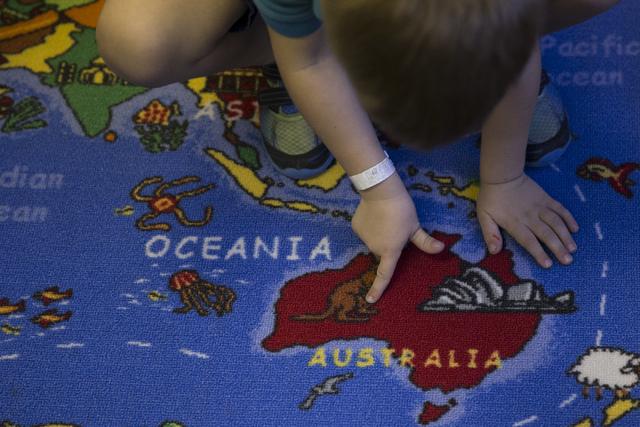 Kindergartner Xander Gallant, 5, finds Australia in a map in his classroom at Nasri Academy on Wednesday, Nov. 16, 2016, in Henderson. Erik Verduzco/Las Vegas Review-Journal Follow @Erik_Verduzco