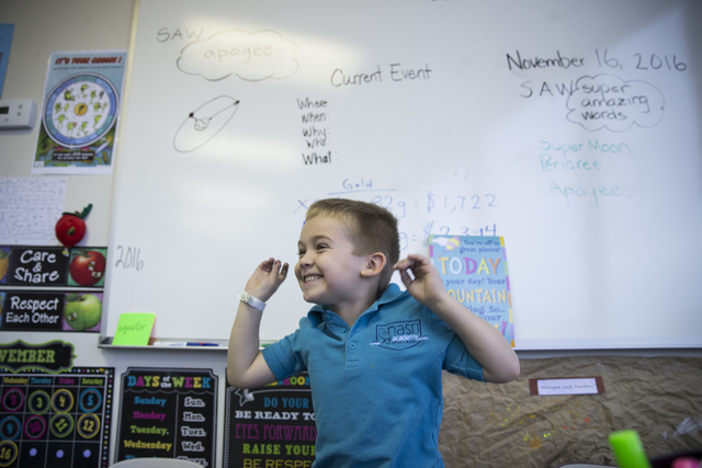 Kindergartner  Xander Gallant, 5, in his classroom at Nasri Academy on Wednesday, Nov. 16, 2016, in Henderson. Erik Verduzco/Las Vegas Review-Journal Follow @Erik_Verduzco