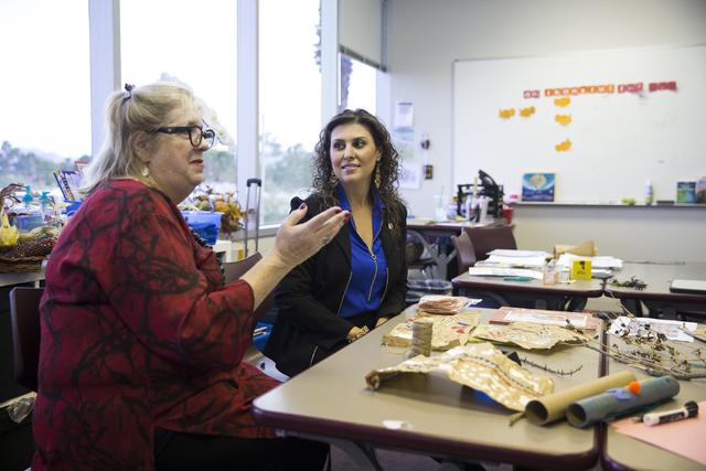 Lead teacher Allison Berman, left, with Bita Nasri, founder of Nasri Academy, speaks on the school's mission at Nasri Academy on Wednesday, Nov. 16, 2016, in Henderson. Erik Verduzco/Las Vegas Rev ...