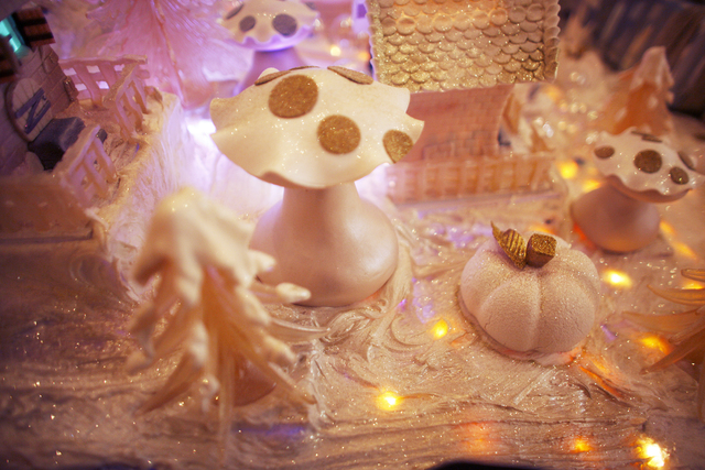 The gingerbread village at the Four Seasons Hotel lobby on Monday, Dec. 12, 2016, in Las Vegas.  The mushrooms are made of sugar, marzipan, and chocolate and the trees are made of sugar. (Rachel A ...