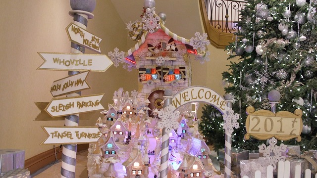 The holiday village gingerbread display at the Four Seasons Hotel lobby on Monday, Dec. 12, 2016, in Las Vegas. (Rachel Aston/Las Vegas Review-Journal) @rookie__rae