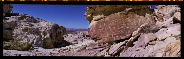 """Newspaper Rock"" is seen in the Falling Man petroglyph area in the Gold Butte region Saturday, Oct. 15, 2016, northeast of Las Vegas. Sam Morris/Las Vegas News Bureau"