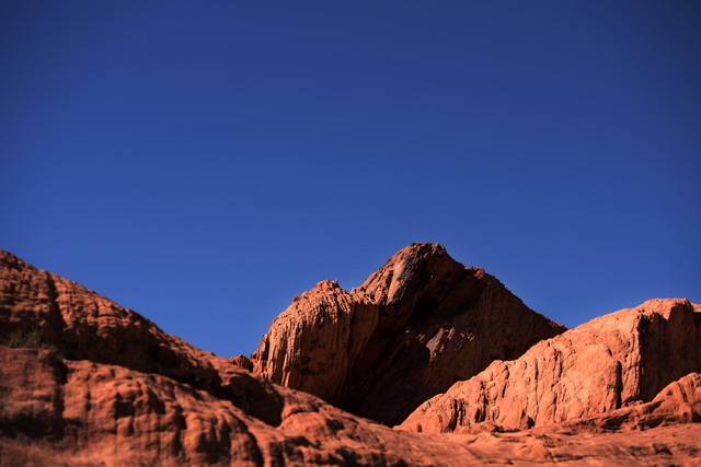 Red sandstone contrasts with a deep blue sky in the Gold Butte region Saturday, Oct. 15, 2016, north east of Las Vegas. Sam Morris/Las Vegas News Bureau
