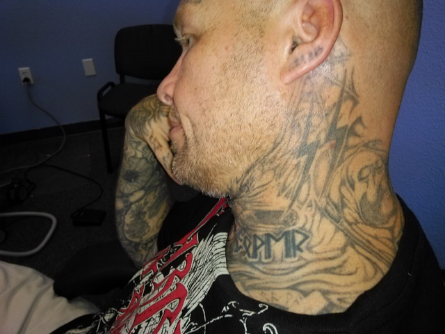 Pictures of Marty Byars' tattoos before laser removal treatment. (Courtesy Robyn Grace)