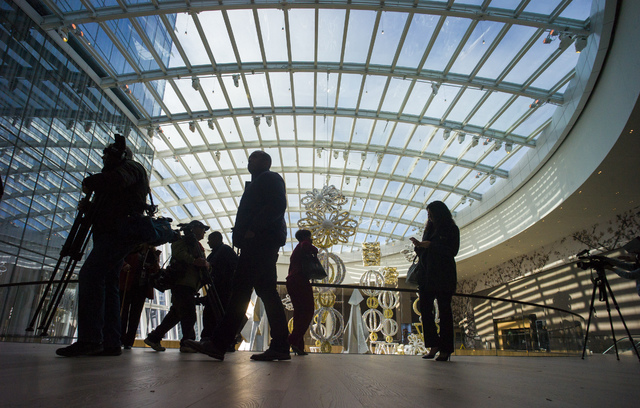 The 15,000-square-foot conservatory from the second floor during a tour of the MGM National Harbor in Oxon Hill, Md. on Monday, Dec. 5, 2016. The $1.3 billion hotel-casino is slated to open Thursd ...