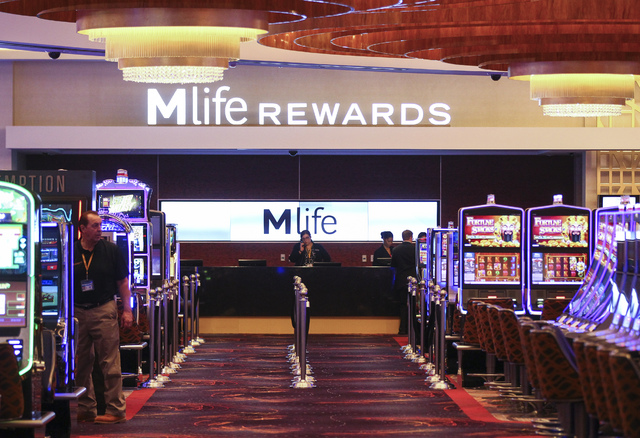 M life Rewards desk on the casino floor during a tour of the MGM National Harbor in Oxon Hill, Md. on Monday, Dec. 5, 2016. The $1.4 billion hotel-casino is slated to open Thursday. (Chase Stevens ...