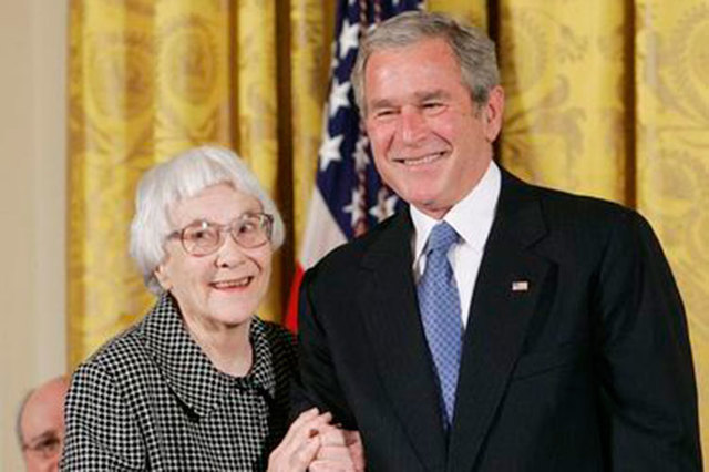 American novelist Harper Lee received the Presidential Medal of Freedom from President George W. Bush on Nov. 5, 2007. (Larry Downing/File, Reuters)
