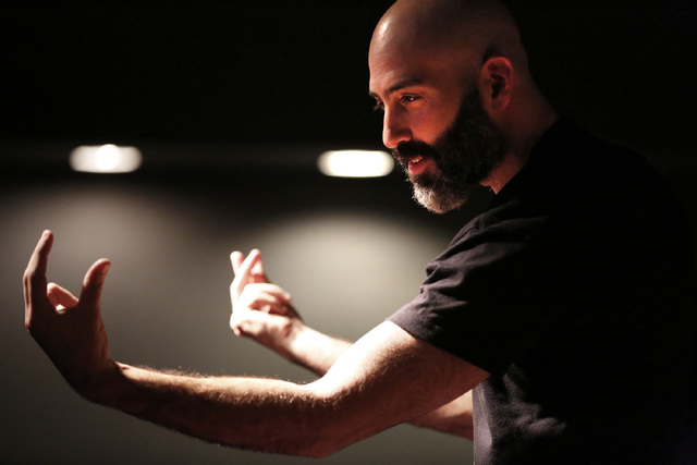 Douglas Ridloff performs during ASL SLAM at E-String Grill and Poker Bar in Henderson on Dec. 3, 2016. ASL SLAM is a space for Deaf performing artists to share poetry and storytelling in American  ...