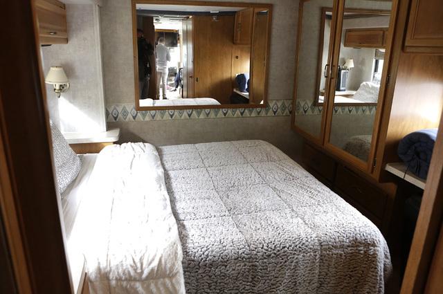 Paul Charron and his wife Lorena's bedroom inside their motor home on Dec. 15, 2016 in Henderson. (Bizuayehu Tesfaye/View) @bizutesfaye