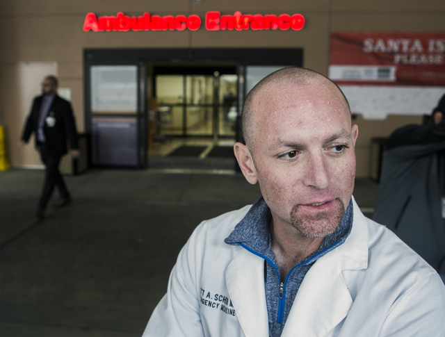 Sunrise Hospital emergency medical Dr. Scott Scherr discusses Friday, Dec. 30, 2016, the hospital's plans to deal with the demand from New Year's Eve revelers. The hospital is preparing for all ty ...