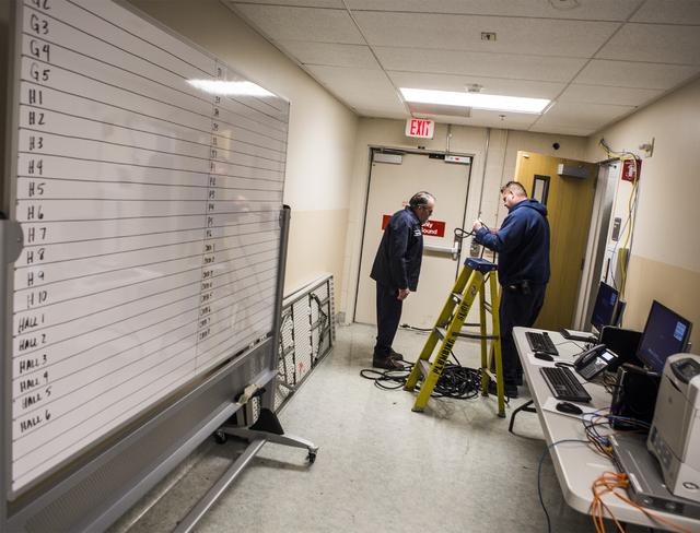 Sunrise Hospital employees set up IT system for the hospital's triage tent on Friday, Dec. 30, 2016. The hospital is preparing for all types of injuries during New Year's Eve. Jeff Scheid/Las Vega ...