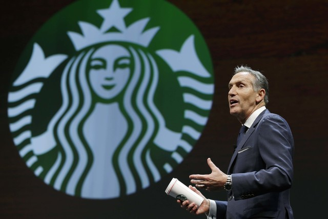 Starbucks CEO Howard Schultz speaks at the coffee company's annual shareholders meeting in Seattle, March 23, 2016.(Ted S. Warren/AP)