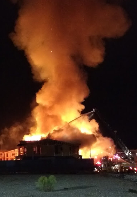 Crews from the Clark County and Las Vegas fire departments responded to a two-alarm fire at a construction site in the west valley Friday night. (Clark County Fire Department)
