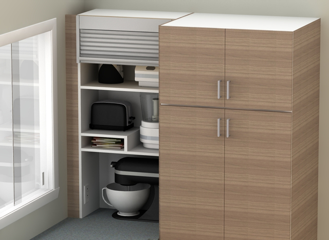 Appliance garages, pull-out shelves help organize kitchen ...