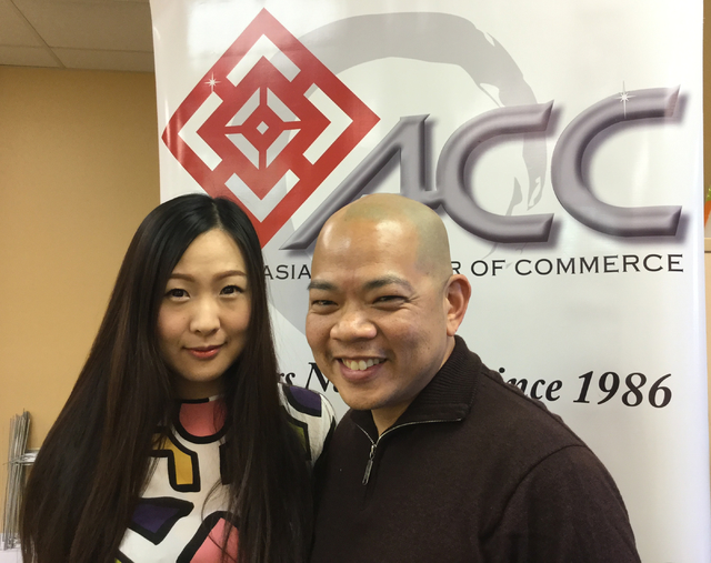 Michelle Chen (left), the director of the Las Vegas Asian Chamber of Commerce, stands with Sonny Vinuya, president of the LVAAC on Wednesday, Nov. 23, 2016. Chen and Vinuya say an influx of Chines ...