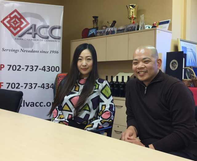 Michelle Chen (left), the director of the Las Vegas Asian Chamber of Commerce, sits with Sonny Vinuya, president of the LVAAC on Wednesday, Nov. 23, 2016. Chen and Vinuya say an influx of Chinese  ...