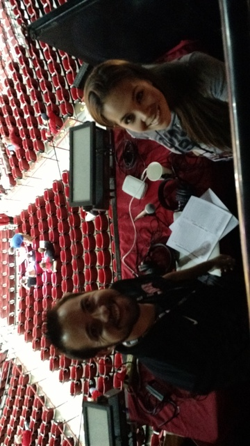 Wyatt Tomchek and Kim Trejo on the radio call for KUNV-FM (91.5) for the UNLV-New Mexico Highlands exhibition basketball game on Nov. 4, 2016, at the Thomas & Mack Center. Photo courtesy of Fr ...
