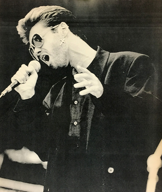 In this June 11, 1988 file photo, singer George Michael performs during Saturday's Rockfest at Wembley Stadium in London. (AP Photo/Gillian Allen)