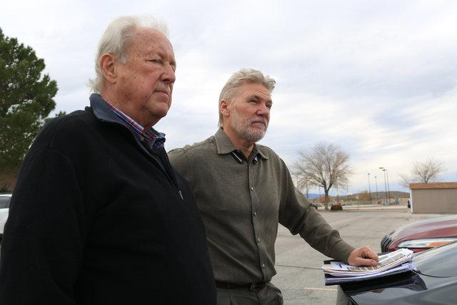 Steve Schneider, left, and Mason Harvey speak with a Review-Journal reporter in Indian Springs, Nev., on Wednesday, Dec. 21, 2016. Brett Le Blanc/Las Vegas Review-Journal Follow @bleblancphoto