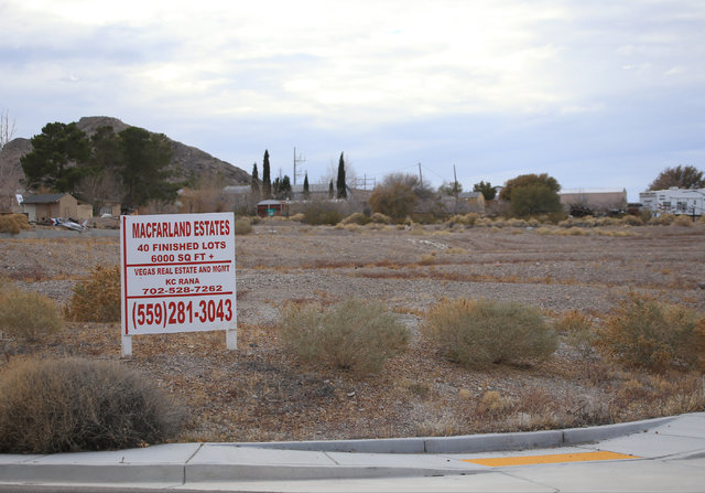 An unfinished development has only three houses built in Indian Springs, Nev., on Wednesday, Dec. 21, 2016. Brett Le Blanc/Las Vegas Review-Journal Follow @bleblancphoto