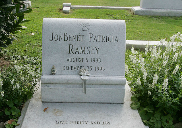 The gravesite of JonBenet Patricia Ramsey is photographed Wednesday, Aug. 16, 2006, at the St. James Episcopal Church Cemetery in Marietta, Ga. (Ric Feld/The Associated Pres)