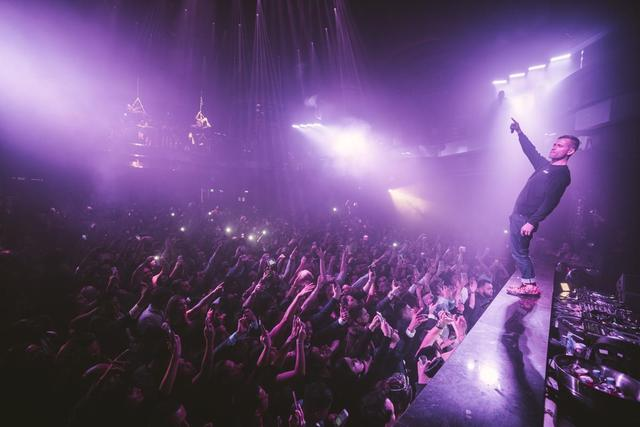Superstar DJ Kaskade performs a set at a packed Omnia nightclub at Caesars Palace on Friday, Dec. 30, 2016. (Photo Aaron Garcia)