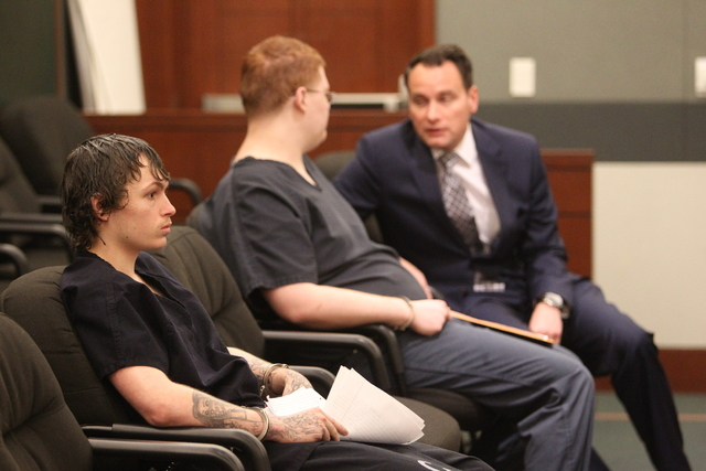 Erich Nowsch, left, and Derrick Andrews, center, the gunman and getaway driver who pleaded guilty in the slaying of Tammy Meyers, appear at a sentencing hearing with a lawyer on Thursday, Dec. 22, ...