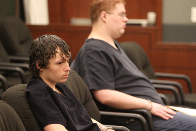 Erich Nowsch, left, and Derrick Andrews, right, the gunman and getaway driver who pleaded guilty in the slaying of Tammy Meyers, listen to the judge at a sentencing hearing on Thursday, Dec. 22, 2 ...