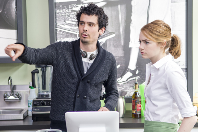 Witer-director Damien Chazelle and Emma Stone on the set of LA LA LAND. Photo Credit: Dale Robinette/Summit