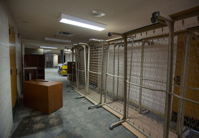 Bed frames from Stein Hospital, a closed mental health hospital on the campus of Rawson-Neal Psychiatric Hospital, are photographed Friday, Jan. 23, 2015. The facility is being remodeled and is ex ...