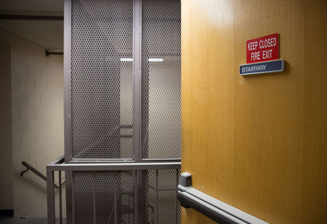 A stairwell inside Stein Hospital, a closed mental health hospital on the campus of Rawson-Neal Psychiatric Hospital, is photographed Friday, Jan. 23, 2015. The facility is being remodeled and is  ...